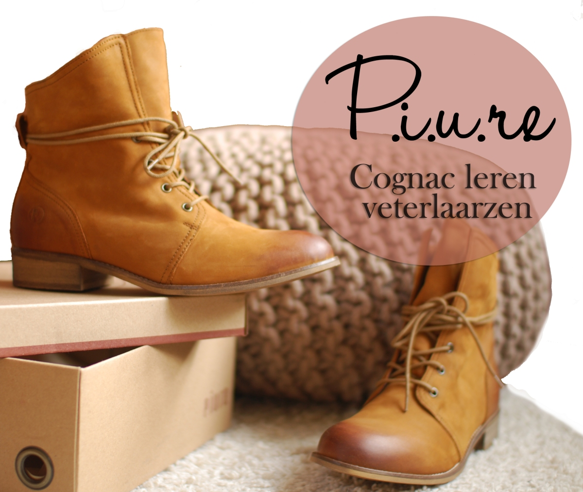 New In | P.i.u.r.e. cognac leren veterlaarzen